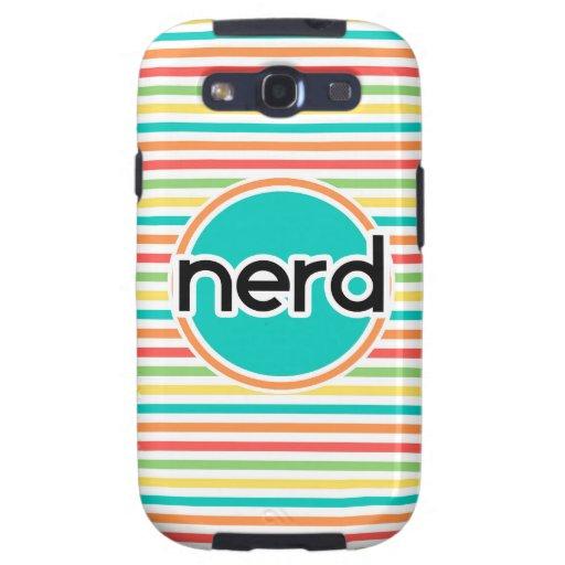 Nerd, Bright Rainbow Stripes Galaxy SIII Cases
