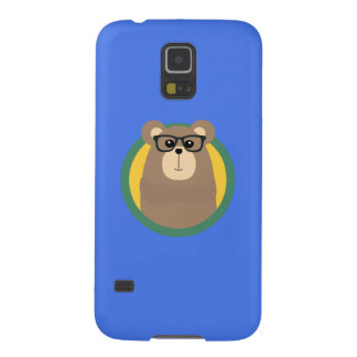 Nerd Brown Bear with cirlce Q1Q Galaxy S5 Cases