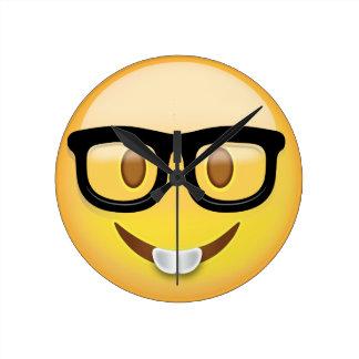 Nerd Face Emoji Round Clock