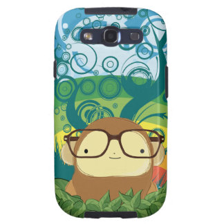 nerd monkey on leaves galaxy SIII cases