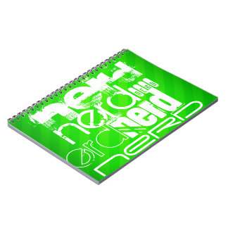 Nerd; Neon Green Stripes Spiral Notebooks