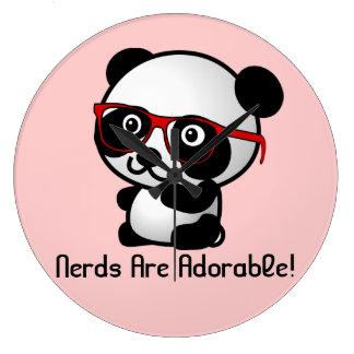 Nerds Are Adorable Cute Panda With Nerd Glasses Wallclock