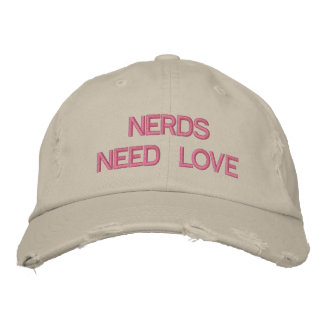 NERDS NEED LOVE - Customizabe Cap @ eZaZZleMan.com Embroidered Baseball Caps