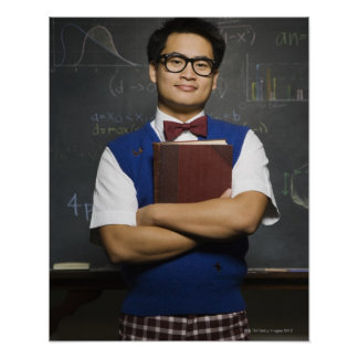 Nerdy Asian male student holding school book Poster