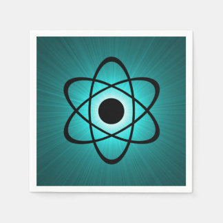 Nerdy Atomic Paper Napkins, Teal Paper Napkin