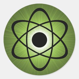 Nerdy Atomic Stickers, Green Classic Round Sticker