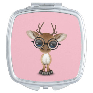 Nerdy Baby Deer Wearing Glasses Compact Mirrors