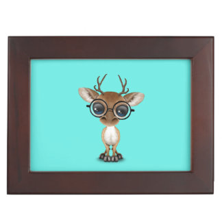 Nerdy Baby Deer Wearing Glasses Keepsake Box