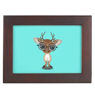 Nerdy Baby Deer Wearing Glasses Keepsake Box