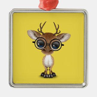 Nerdy Baby Deer Wearing Glasses Metal Ornament