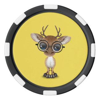 Nerdy Baby Deer Wearing Glasses Poker Chips
