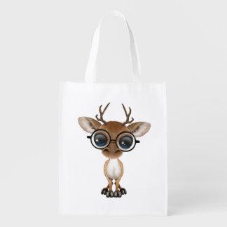 Nerdy Baby Deer Wearing Glasses Reusable Grocery Bag