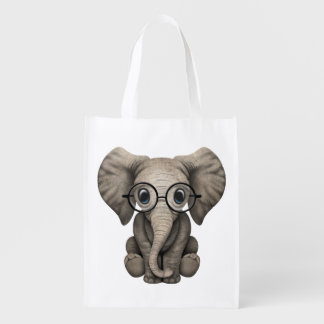 Nerdy Baby Elephant Wearing Glasses Reusable Grocery Bag
