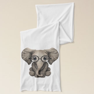 Nerdy Baby Elephant Wearing Glasses Scarf