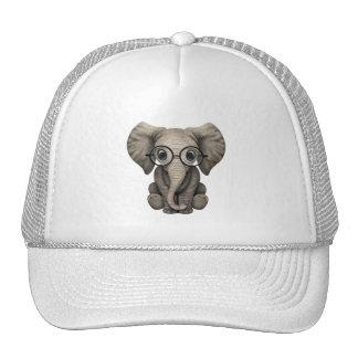 Nerdy Baby Elephant Wearing Glasses Trucker Hat