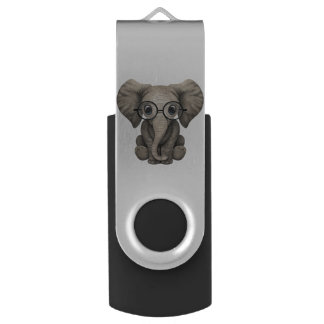 Nerdy Baby Elephant Wearing Glasses USB Flash Drive