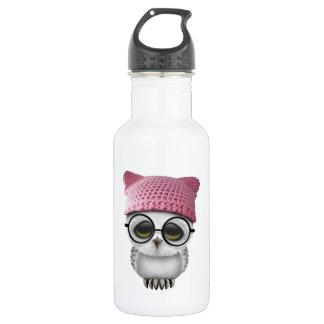 Nerdy Baby Owl Wearing Pussy Hat 532 Ml Water Bottle