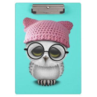 Nerdy Baby Owl Wearing Pussy Hat Clipboard