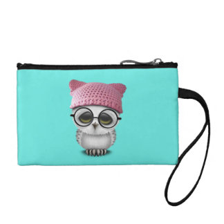 Nerdy Baby Owl Wearing Pussy Hat Coin Purse