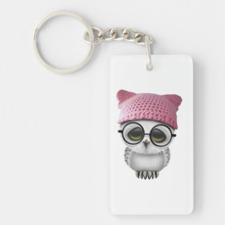 Nerdy Baby Owl Wearing Pussy Hat Double-Sided Rectangular Acrylic Keychain