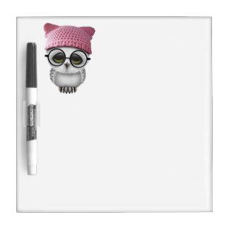 Nerdy Baby Owl Wearing Pussy Hat Dry Erase Board