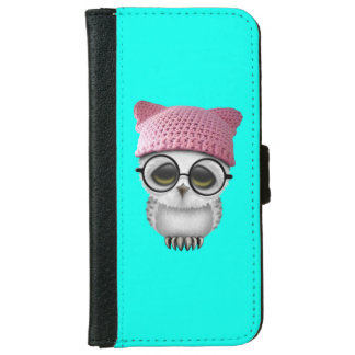 Nerdy Baby Owl Wearing Pussy Hat iPhone 6 Wallet Case