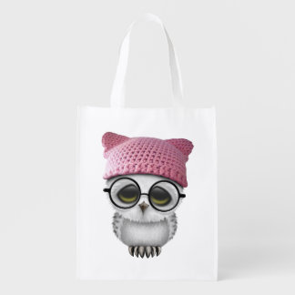 Nerdy Baby Owl Wearing Pussy Hat Reusable Grocery Bag