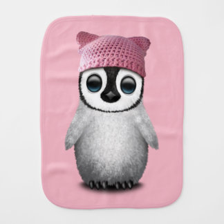 Nerdy Baby Penguin Wearing Pussy Hat Burp Cloth