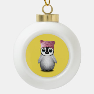 Nerdy Baby Penguin Wearing Pussy Hat Ceramic Ball Christmas Ornament