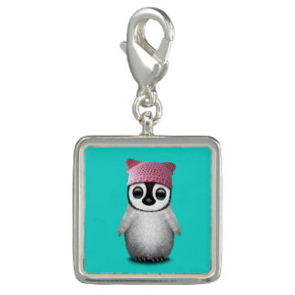 Nerdy Baby Penguin Wearing Pussy Hat Charm