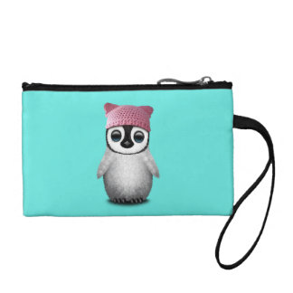Nerdy Baby Penguin Wearing Pussy Hat Coin Purse