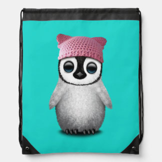 Nerdy Baby Penguin Wearing Pussy Hat Drawstring Bag