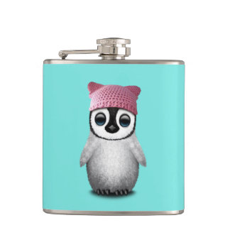 Nerdy Baby Penguin Wearing Pussy Hat Hip Flask