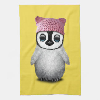 Nerdy Baby Penguin Wearing Pussy Hat Kitchen Towel