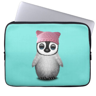Nerdy Baby Penguin Wearing Pussy Hat Laptop Computer Sleeves