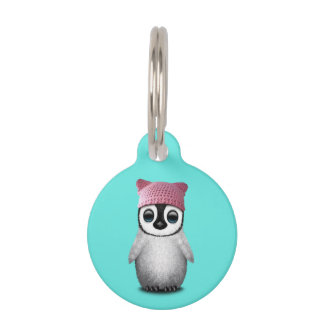 Nerdy Baby Penguin Wearing Pussy Hat Pet Name Tag