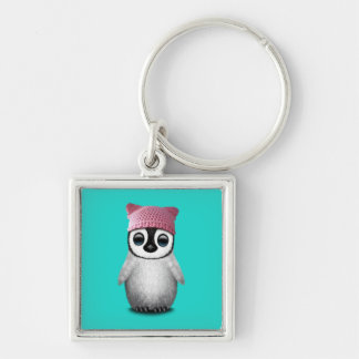 Nerdy Baby Penguin Wearing Pussy Hat Silver-Colored Square Keychain