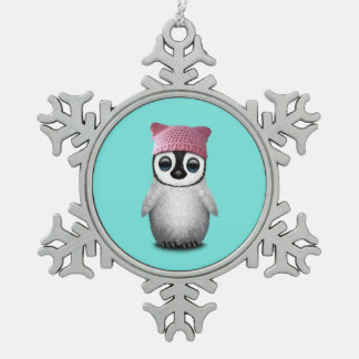 Nerdy Baby Penguin Wearing Pussy Hat Snowflake Pewter Christmas Ornament