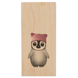 Nerdy Baby Penguin Wearing Pussy Hat Wood USB Flash Drive