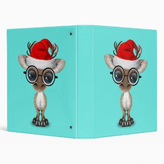Nerdy Baby Reindeer Wearing a Santa Hat 3 Ring Binder