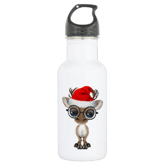 Nerdy Baby Reindeer Wearing a Santa Hat 532 Ml Water Bottle