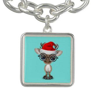 Nerdy Baby Reindeer Wearing a Santa Hat Bracelets
