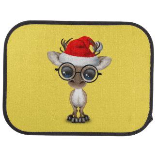 Nerdy Baby Reindeer Wearing a Santa Hat Car Mat