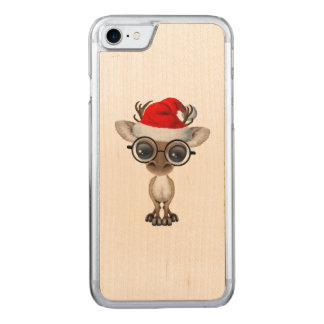 Nerdy Baby Reindeer Wearing a Santa Hat Carved iPhone 8/7 Case