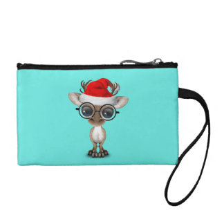 Nerdy Baby Reindeer Wearing a Santa Hat Coin Purse