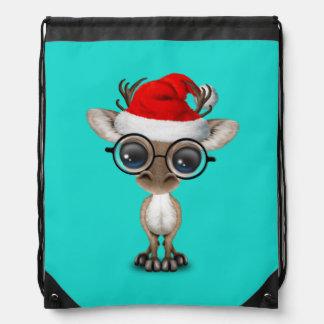 Nerdy Baby Reindeer Wearing a Santa Hat Drawstring Bag