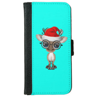 Nerdy Baby Reindeer Wearing a Santa Hat iPhone 6 Wallet Case