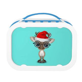 Nerdy Baby Reindeer Wearing a Santa Hat Lunch Box