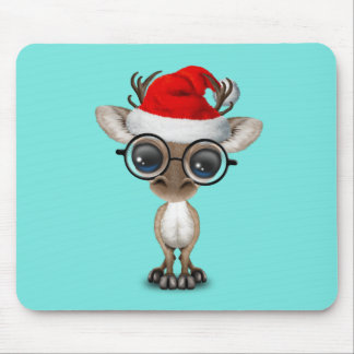 Nerdy Baby Reindeer Wearing a Santa Hat Mouse Pad