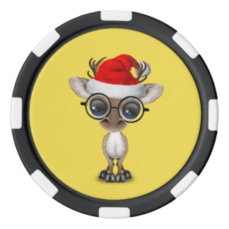Nerdy Baby Reindeer Wearing a Santa Hat Poker Chips